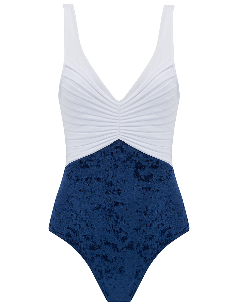 Nerida Navy Velvet and White Swimsuit - Disegnato da 5pm Swimwear