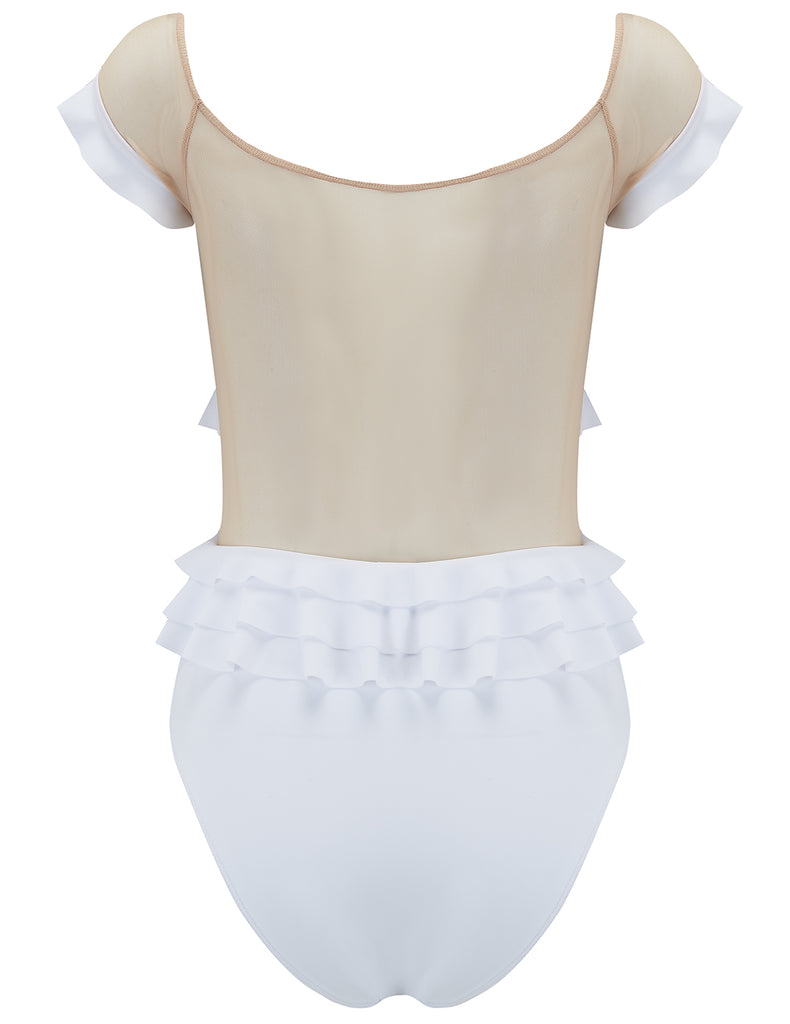 Adella White Ruffle Swimsuit - Conçu par 5pm Swimwear