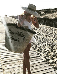 Large Straw Beach Bag | Mimi Holliday Luxury Accessories