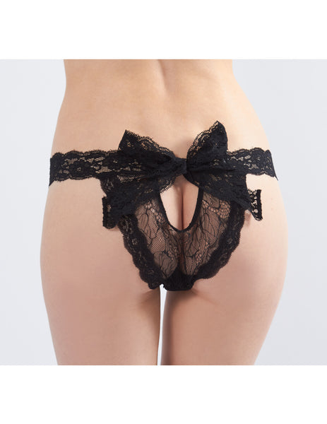 Black Bow Lace Knickers | Mimi Holliday Lingerie de luxo