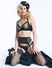 Black Mesh Tulle Suspenders | Mimi Holliday Luxury Lingerie
