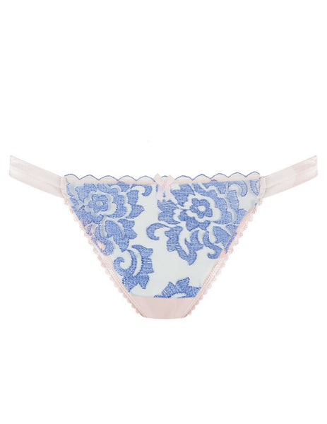 Blue Floral Lace Hipster Thong | Mimi Holliday Luxury Lingerie