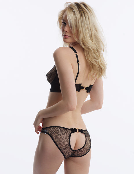 Damaris léopard Peep Back Knickers