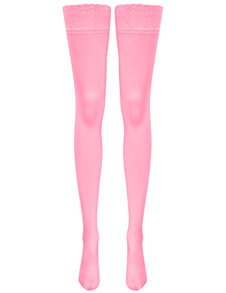 Mimi Lace Top Hold Ups - Fluoro Pink
