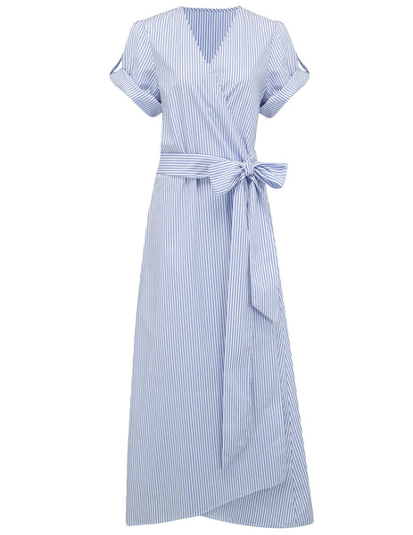 Brigette Blue White Stripe Beach Dress | Designer badkläder