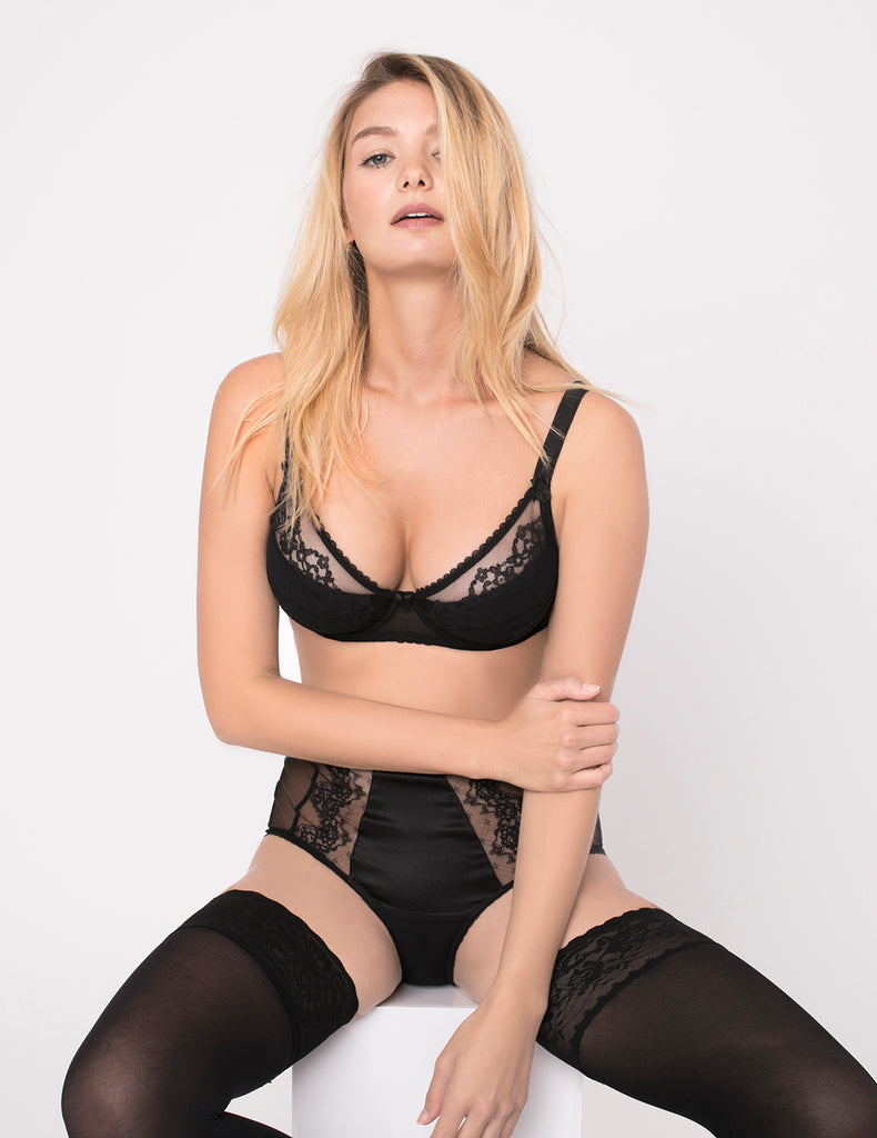 Orchid Noir Lace og Silk Padded Push-Up Bra