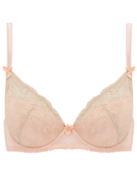 Nude Lace Padded Push Up Bra | Mimi Holliday Luxury Lingerie