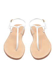 Bonjour White Flat Sandals | Mimi Holliday Designer Beach Shoes