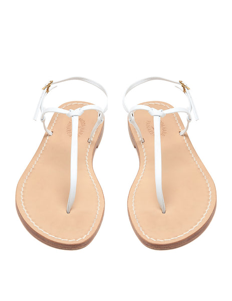 Bonjour White Flat Sandals | Mimi Holliday Luxury Beach Shoes