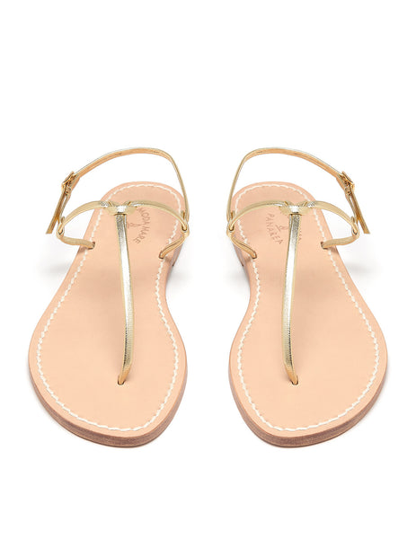 Bonjour Gold Flat Sandals | Mimi Holliday Designer Beach Shoes