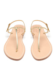 Bonjour Gold Flat Sandals | Mimi Holliday Luxury Beach Shoes