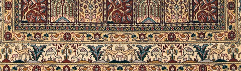 persian moud rug with animals