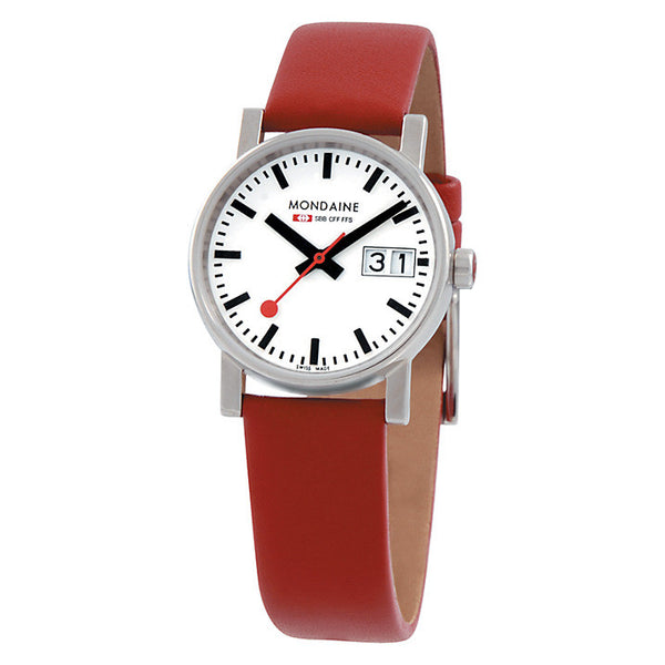Big Date Womens White Dial Red Leather Strap | Mondaine -  Bloomsbury Store - 1