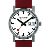 Big Date Womens White Dial Red Leather Strap | Mondaine -  Bloomsbury Store - 2