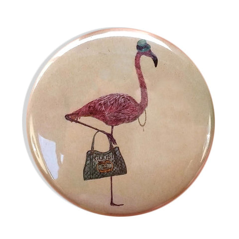 Peggy the Flamingo Pocket Mirror | Fawn and Thistle  | Bloomsbury Store