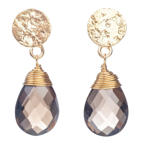 Azuni Athena Gold Plated Disc Earring | Amethyst  | Bloomsbury Store