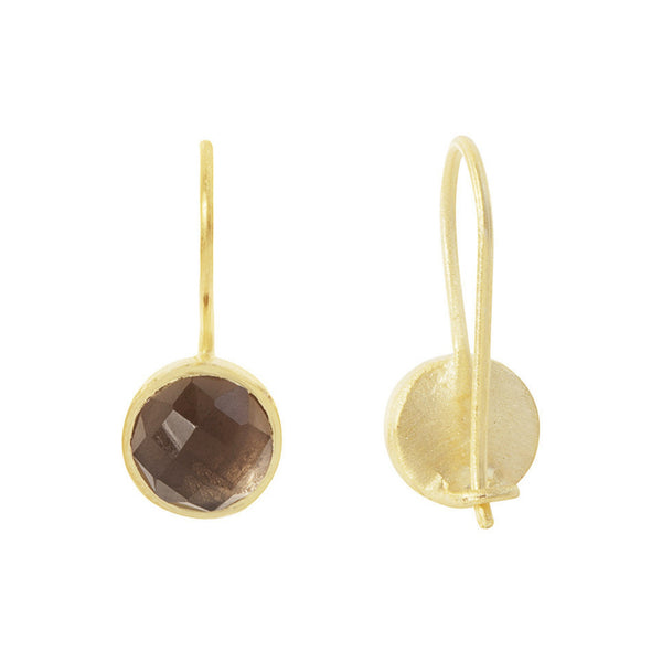 Pomegranate Earrings Gold Small Cupcake Drop | Smokey Quartz  | Bloomsbury Store