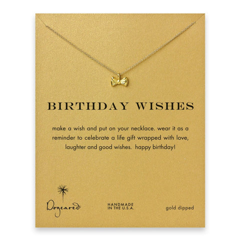 Dogeared Necklace | Gold Dipped Birthday Wishes Bow -  Bloomsbury Store