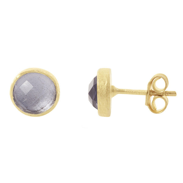 Pomegranate Earrings Gold Stud | Iolite  | Bloomsbury Store