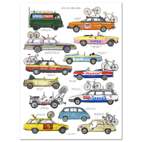 David Sparshott Print | Bike Race Support Vehicles -  Bloomsbury Store