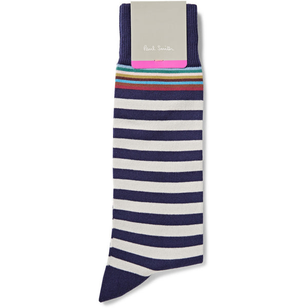 Paul Smith Accessories | Navy Multi Top Stripe Socks -  Bloomsbury Store - 1