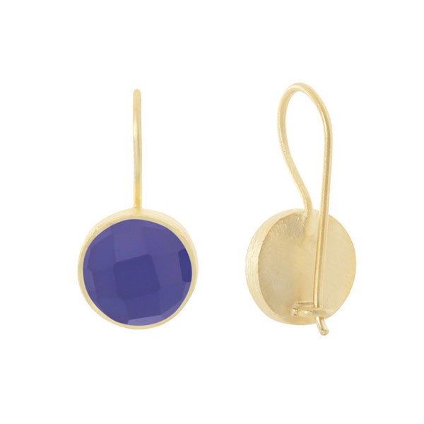 Pomegranate Earrings Gold Cupcake Drop | Blue Chalcedony  | Bloomsbury Store