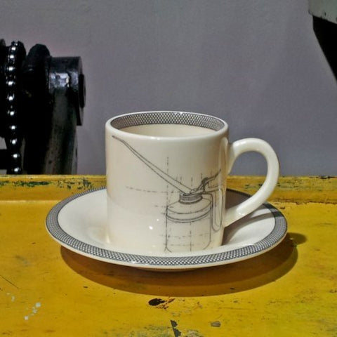 Oil Can Espresso Cup & Saucer -  Bloomsbury Store