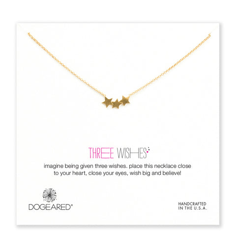 Dogeared Three Wishes Necklace | Gold Dipped Triple Star -  Bloomsbury Store - 1