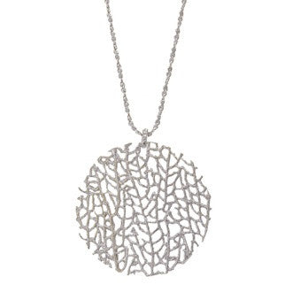 Catherine Weitzman Necklace | Silver Large Coral Disc -  Bloomsbury Store