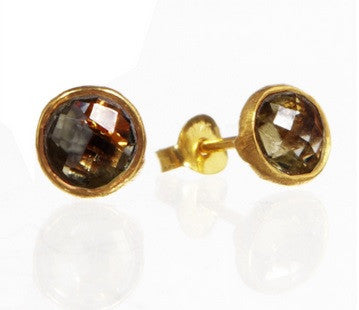 RR Earrings Small Round Gold Plated Studs | Smoky Topaz  | Bloomsbury Store