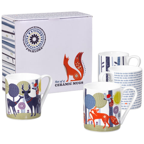 Folklore Ceramic Mugs Set of 4 | Wild & Wolf  | Bloomsbury Store - 1