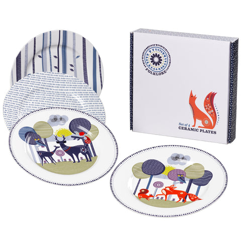 Folklore Ceramic Plates Set of 4 | Wild & Wolf  | Bloomsbury Store - 1