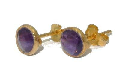 RR Earrings Medium Round Gold Plated Studs | Brazilian Amethyst  | Bloomsbury Store