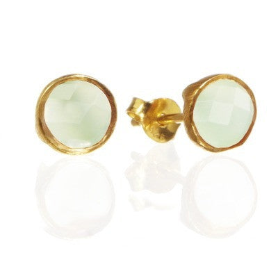 RR Earrings Medium Round Gold Plated Studs | Aqua Onyx  | Bloomsbury Store