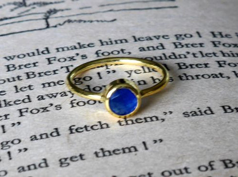 RR Ring Round Stone Gold Plated | Blue Quartz  | Bloomsbury Store