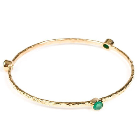 Single Set Stone Gold Plated Bangle | Green Onyx -  Bloomsbury Store