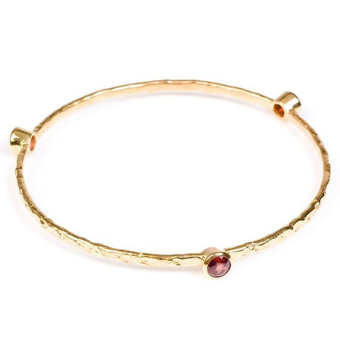 Single Set Stone Bangle Gold Plated | Garnet -  Bloomsbury Store