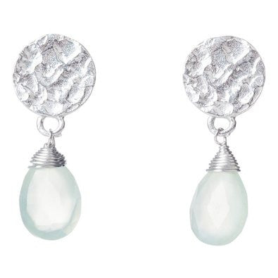 Azuni Silver Plated Disc Earrings | Aqua Chalcedony -  Bloomsbury Store