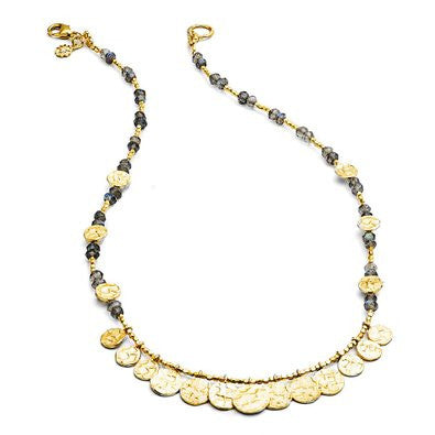 Azuni Cleopatra Necklace Short Disc And Stone | Labradorite  | Bloomsbury Store