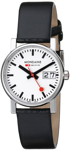 Big Date Womens White Dial Black Leather Strap | Mondaine -  Bloomsbury Store - 1