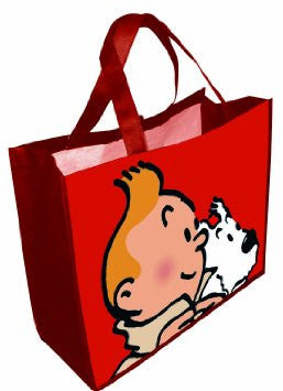Tintin and Snowy Large Shopper Bag | Red -  Bloomsbury Store