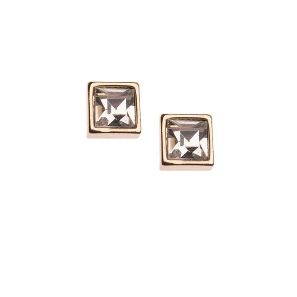 Orelia Earrings Gold | Square Stud Crystal -  Bloomsbury Store