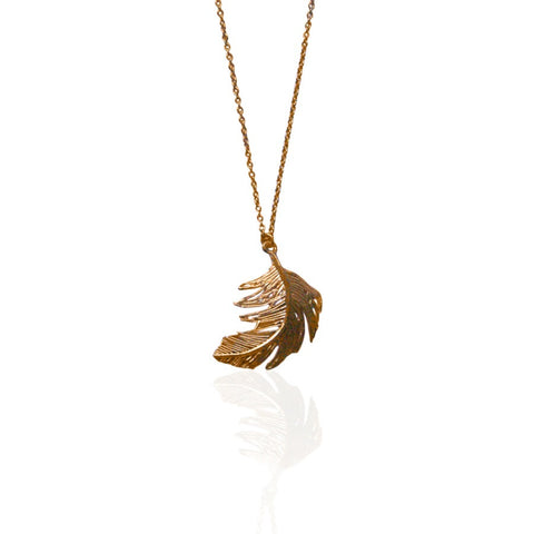 Alex Monroe Necklace | Big Single Feather Gold -  Bloomsbury Store