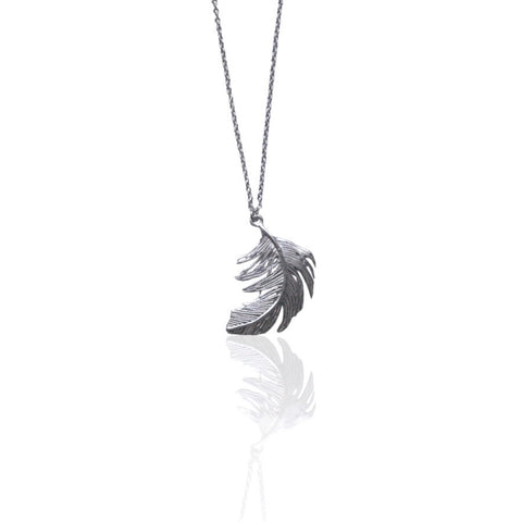 Alex Monroe Necklace | Big Single Feather Silver -  Bloomsbury Store