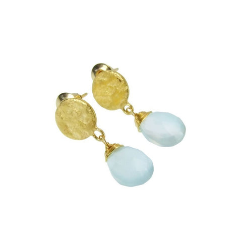 Azuni Athena Disc Drop Earrings | Aqua Chalcedony/Gold -  Bloomsbury Store