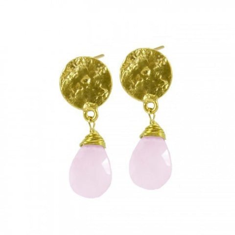 Azuni Athena Disc Drop Earrings | Pink Chalcedony -  Bloomsbury Store
