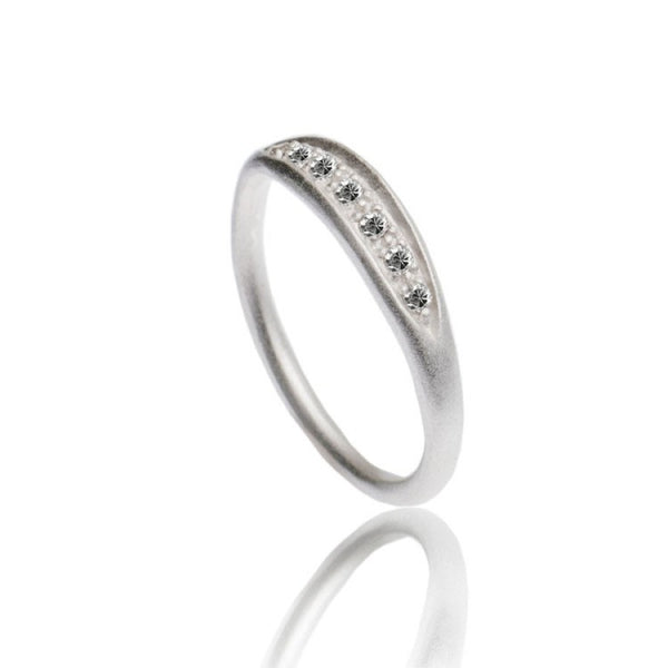 Azuni Textured Sparkling Ring | Silver -  Bloomsbury Store