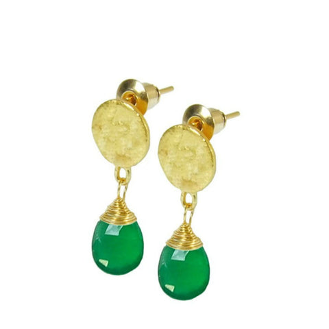 Azuni Athena Disc Drop Earrings | Green Onyx -  Bloomsbury Store - 1