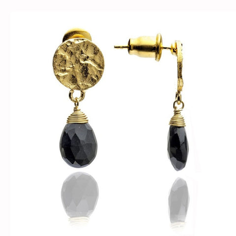 Azuni Athena Disc Drop Earrings | Onyx -  Bloomsbury Store