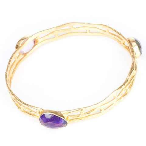 Azuni Athena Hammered Bangle | Mixed Stones -  Bloomsbury Store - 1